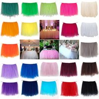 Wholesale 5Pcs cm x cm Tulle Tutu Table Skirt Tableware for Wedding Event Party Supplies Baby Shower Banquet Table Decoration Top quality