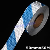 Wholesale mmx50M Safety Blue amp Silver Stripe Reflective Adhesive Tape Reflective Tape Sticker For Truck Car Motorcycle Warning Tape