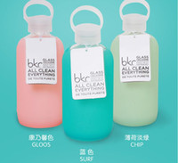 Wholesale 500mL Bkr Glass Water Bottle Design Silicone Cover carry a water bottle
