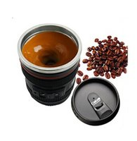 Wholesale creative gift mugs Stainless steel coffee cup SLR camera insulation cup can customize logo ECO friendly Automatic coffee stir cups ml