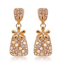 Wholesale tree design ear pendant tin shaped inlaid with diamond stud earring A007