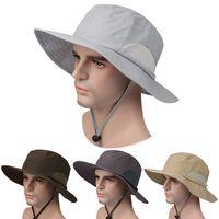 Wholesale Large Brim Sun Block Fishing Hats UV protection Fisherman Hats Outdoor Summer Sun Caps Hats Fishing Bucket Hat Camping Hunting Hat D478