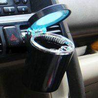 Wholesale Black Color Portable Car LED Light Ashtray Auto Travel Cigarette Ash Holder Cup El cenicero