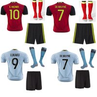 Wholesale 2016 Belgium the full set soccer jersey with socks HAZARD DE BRUYNE LUKAKU home and away jersey with socks