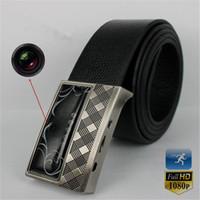Wholesale 32GB HD P Leather Belt Buckle Camera with IR night vision Motion Detection Remote Control Spy Belt Camera Hidden Pinhole Camera Mini DVR