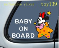 baby wall words - FOR Mickey Minnie Mouse quot BABY ON BOARD quot funny diy Car phone wall window Decal sticker reflective silver