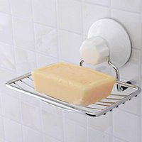 Wholesale Brand New Stainless Strong Suction Wall Soap Holder Dish Basket Tray Bathroom Shower Cup Pc FG01131