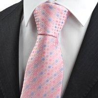 Corbatas Corbata Corbata azul rosada del lazo del círculo del lunar para los hombres Corbatas del juego para el regalo formal KT0029 del día de fiesta del negocio del negocio