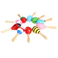 Wholesale Kids Children Toy Musical Instrument Maraca Wooden Percussion Instrument Musical Toy for KTV Party New Arrival I574