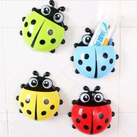 Wholesale New Hot colors cute ladybug cartoon sucker toothbrush holder hooks items for home suction brush rack bath set SW10