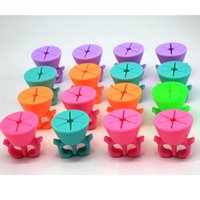 Wholesale New Arrival Wearable Nail Polish Holder Ring Silicone Nail Art Stand Tools Assorted Color