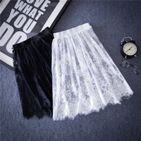 Wholesale 2016 Summer Women Sexy Lace Skirts Fashion Solid Casual Mesh tulle skirt Hollow Out short Pencil Elegant Black White Skirt D6
