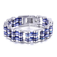 Link, Chain Euramerican Unisex Brand New Biker 316L Stainless Steel Knight Rider Motorcycle chain Bracelet Silver & Blue Cool Holiday Gift 8.3''