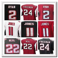 Wholesale Men s Atlanta and Falcons Embroidery Name Number Matt Ryan Julio Jones Devonta Freeman Color White Red Size M XXXL