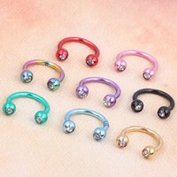 Wholesale 100 Pieces Anodized Circular Barbell Horseshoe Piercing CBB Septum Lip Labret Eyebrow Nose Ring Nipple Piercing Body Jewelry g