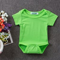 Wholesale Retail New baby girls boys cotton bodysuits cute baby jumpers summer kids wear short sleeve colorful bodysuit infant overalls J03