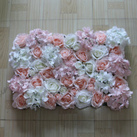artificial light plants - Artificial silk rose light pink and white hydrangea flower wall wedding background decoration