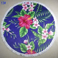 Wholesale 150 by cm D print round beach towel super large tassel thick beach blanket patterns optional