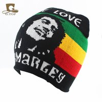 Wholesale Bob Marley one Love Red Yellow Green and Black Colored knit Beanie knitted rasta cap