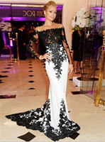 black and white prom dresses - 2016 Black and White Long Mermaid Prom Evening Dress Lace Apliques Off the shoulder Sexy Party Prom Gowns vestido formatura
