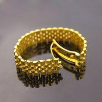 al por mayor ver chapado en oro-Cadena de reloj ancha pulseras de corona imperial brazaletes para los hombres 316L de acero inoxidable 18K amarillo rosa de oro plateado de lujo joyería de moda de diseñador