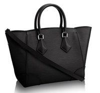 bag trimmings - Women Phenix PM M50803 Black Color Épi Cowhide Leather Tote and Shoudler Bags Smooth Cowhide Leather Trim Microfiber Lining Toron Handles
