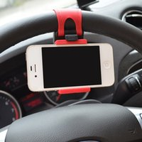 Wholesale Cheap Sale Hot Universal Car Steering Wheel Mobile Phone Holder for iPhone S S C Galaxy S4 S5 GPS MP4 PDA