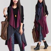 Wholesale Women Asymmetric Cotton Linen Cardigan Long Cloak Vest Plus Size Coat Jacket Outfit For Women Spring Autumn Two Wear Ways WJ348
