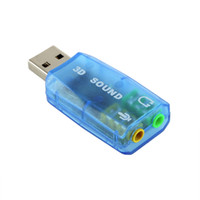 Wholesale 1 D Audio Card USB Mic Speaker Adapter Surround Sound CH for Laptop notebook