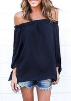 Wholesale Women Off Shoulder Split Side Chiffon Slash Neck Long Sleeve Top
