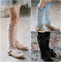 Cheap 2016 new children socks Princess Baby Girls Lace Socks Children Clothing Bowknot Baby Clothes Yarn Long Sock Stocking Blue Pink Black A8104