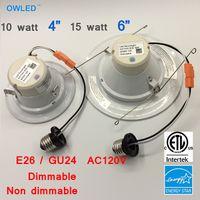 al por mayor kit de luces de abajo-10W 15W 4 pulgadas 6 pulgadas E26 / GU24 DownLight Trim LED Kit de Retrofit Down luz ETL, Energay Star