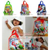 Backpacks bag mario - Top Selling Super Mario Bros Children Drawstring Backpacks Kids School Bags cm Party Gift Shopping Travelling Bags