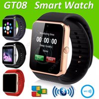 Top GT08 Smart Watch Bluetooth 6261D IC carte SIM Slot NFC Santé Watchs Wear pour Android Samsung IOS Apple iPhone Smartphone Smartwatch DHL