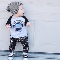 Cheap wholesale 2016 kids boys jam clothes baby 2 pieces clothing toddler summer sets children casual long sleeve t-shirt plaid pants suit