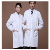 best nursing clothes - Woman Man White Gown Doctor Nurse Uniform Work Clothes Overalls for Unisex Superior Fabric Anti dust Six Size White Color Best Selling