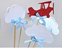 airplane baby shower cake - glitter Airplane and Clouds Cupcake Toppers magic Party Decor picks Birthday wedding bridal baby shower
