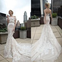 inbal dror - Inbal Dror Stunning Mermaid Wedding Dresses with Floral Wrap Sweetheart Lace Embroidery Corset Back Court Train Bridal Gowns