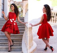 Wholesale Little Red Short Party Dresses Junior Homecoming Dresses Jewel Neck Layered with Hand Made Flowers Arabic Prom Party Gowns BA2945