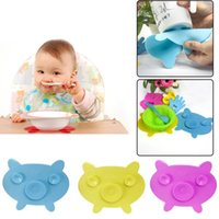 oem animal dishes - Lovely Silicone Baby Dishes Mat Pig Shape Baby Feeding Bowl Cup Non slip Mat Pad Strong Sucker Kitchen Tableware Tool