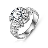 achat en gros de zircon diamant solitaire-Prix de gros Bijoux fantaisie Bague Femme 18k Rhodium Plaqué Zircon Cubique Synthétique Diamant Gemstone Bague de fiançailles Bon Mariage