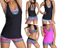 bathing suit shorts women - 2016 Sexy Women Swimwear Three pieces Tankini with Shorts Sporty Bathing Suits Women Plus size S XL