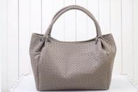 basket weave leather black - Leather handbag sheepskin shoulder inclined shoulder bag hand woven bag Vegetable basket package
