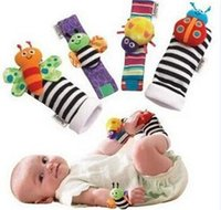 Wholesale In Stock sozzy Wrist rattle foot finder Baby toys Baby Rattle Socks Lamaze Plush Wrist Rattle Foot baby Socks