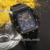 best cheap mens watches - Super Clone Brand Luxury Best RM011 Felipe Massa Flyback Mens Watch Black PVD Skeleton Transparent Automatic Rubber Strap Cheap New Watches