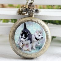 antique dog art - New Fashion Pug Pocket Watch Necklace Dog Pendant Animals Art Glass Jewelry Pug Pocket Watch