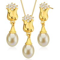 bauhinia crystal gifts - New Trendy Bauhinia Shape k Gold Plated Crystal Jewelry Set Pearl Necklace Earrings for Women Gift S20155