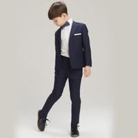 Wholesale Hot Formal Navy Blue Black Boy s Attire for Weddings Child s Birthday Suit Blazer Prom Wedding Boys