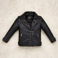 baby leather coats - High Quality Lapels Boys Girls Thin Leather Jacket New Children s Clothing Kids Jacket Coat Locomotive Leather Baby Jackets Coats