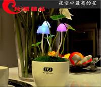 art supplies dc - Mushroom lamp bedside lamp supply avatar light sensing night light fantastic colorful ceramic wall lamp creative gifts